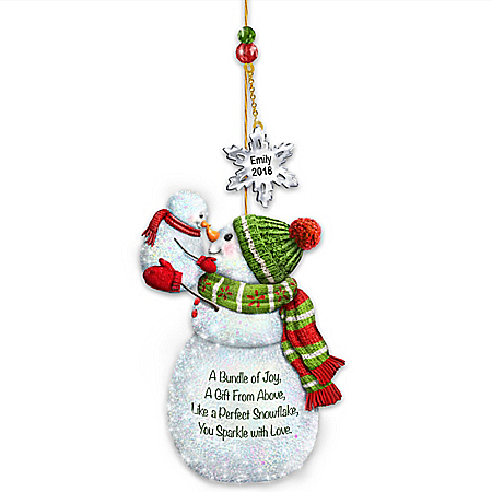 My Merry First Christmas Personalized Snowman Ornament