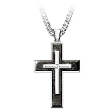 Forged In Faith Sapphire Cross Pendant Necklace For Son