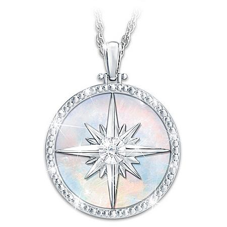 Always My Daughter Diamond Compass Rose Pendant Necklace