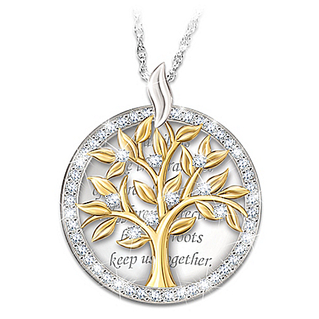 Our Family Tree Swarovski Crystal Pendant Necklace