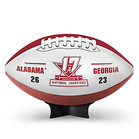 Alabama Crimson Tide 2017 Football National Champions Commemorative Football With Display Stand