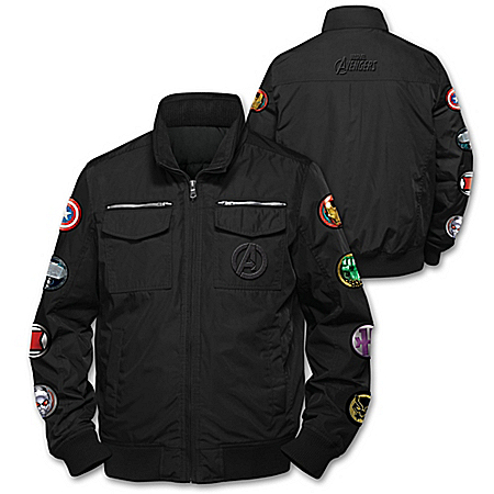 MARVEL Avengers Black Nylon Jacket With 8 Applique Patches