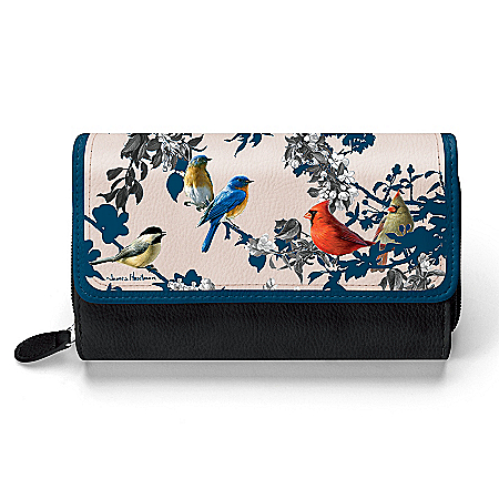 James Hautman Songbird Artwork Women's Black Faux Leather Trifold Wallet
