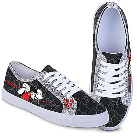Disney Mickey Mouse And Minnie Mouse Shoes With Glitter Trim