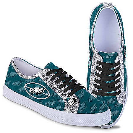 Philadelphia Eagles Women's Shoes With Glitter Trim