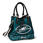 Philadelphia Eagles Women's NFL Drawstring Bucket Handbag With Detachable Shoulder Strap
