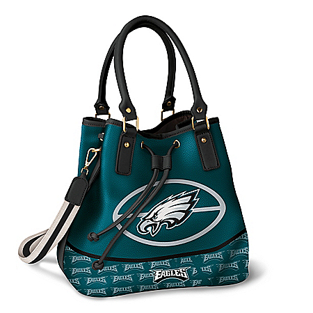 Philadelphia Eagles Women's NFL Drawstring Bucket Handbag With Detachable Shoulder Strap