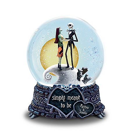 Jack and Sally Meant To Be Personalized Musical Snowglobe