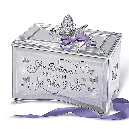 Women's Empowerment Personalized Music Box with Name-Engraved Heart Charm