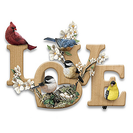 LOVE In Bloom Sculptural Songbird Wall Decor