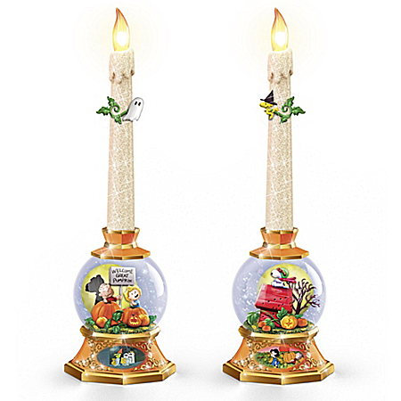PEANUTS Pumpkin Patch Glitter Globe Flameless Candle Set