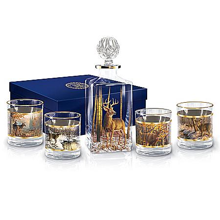 Woodland Majesty Deer Glass Decanter Set