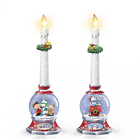 Image of Lighted Peanuts Christmas Snowglobe Candleholders