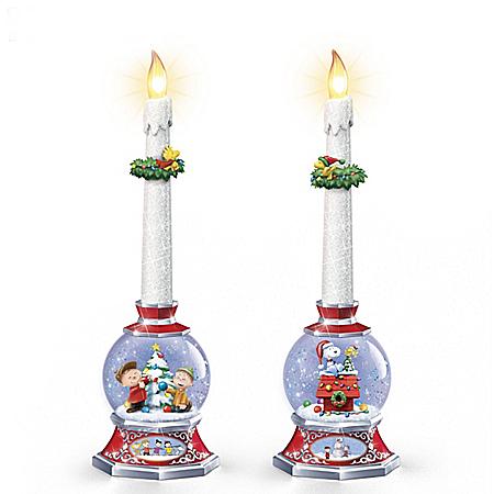 PEANUTS Illuminated Glitter Globe Flameless Candle Set