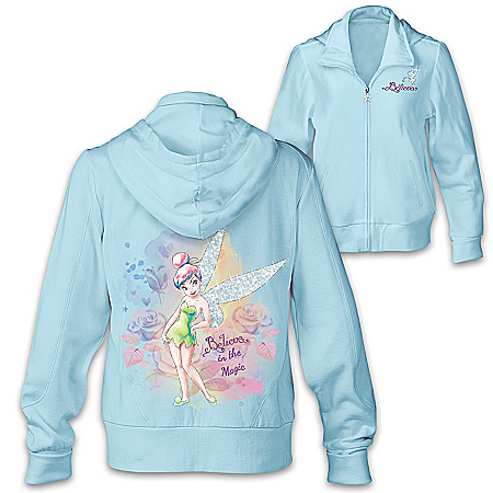 Disney Tinker Bell Sparkle And Believe Front-Zip Hoodie