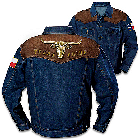 Texas Pride Men's Denim Jacket With Longhorn Applique