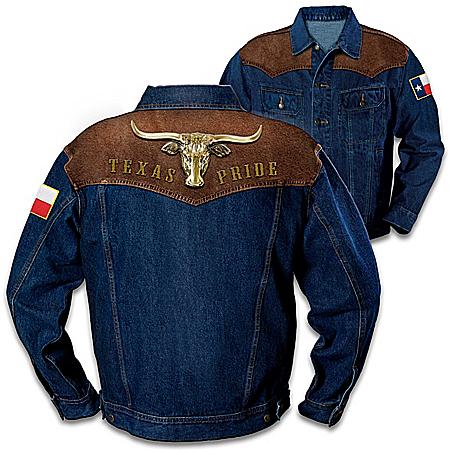 Texas Pride Men's Denim Jacket With Longhorn Applique