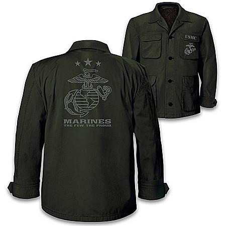 USMC Men's Lightweight Twill Field Jacket With Sherpa Lining
