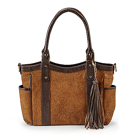 Mexican Tooled Genuine Leather Handbag With Removable Strap