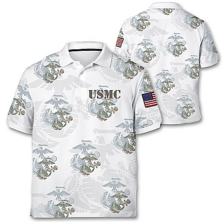 Marine Corps Pride Men's Polo Shirt With Embroidered Patch