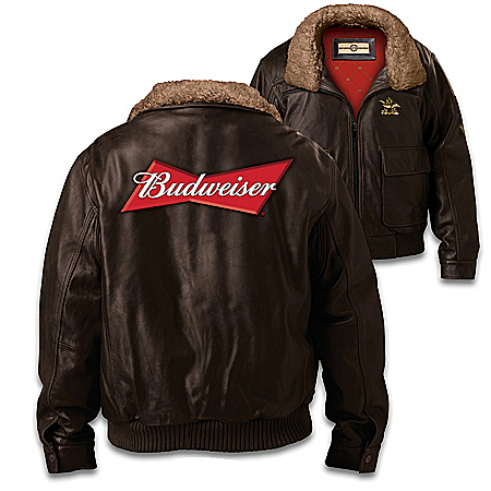 Budweiser Men's Leather Bomber Jacket