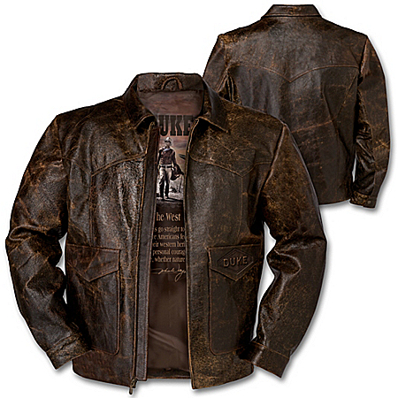 John Wayne Western Heritage Distressed Leather Jacket