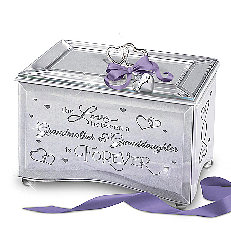 Granddaughter Mirrored Music Box with Personalized Heart Charm and Poem Card