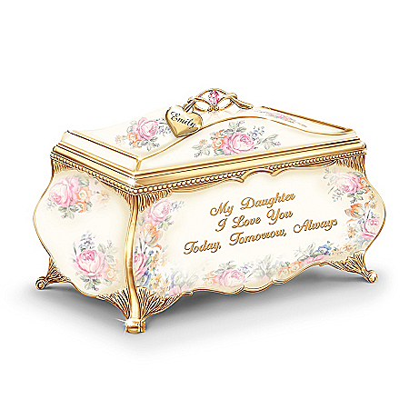 My Daughter, I Love You Personalized Heirloom Rose Music Box