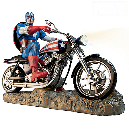 MARVEL CAPTAIN AMERICA Classic Illuminated Motorcycle Sculpture