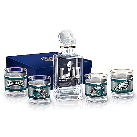Philadelphia Eagles Super Bowl LII Champions NFL Glass Decanter Set