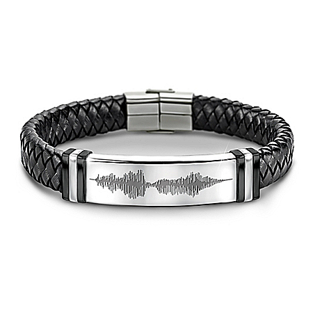 I Love You Sound Wave Design Leather Bracelet For Son