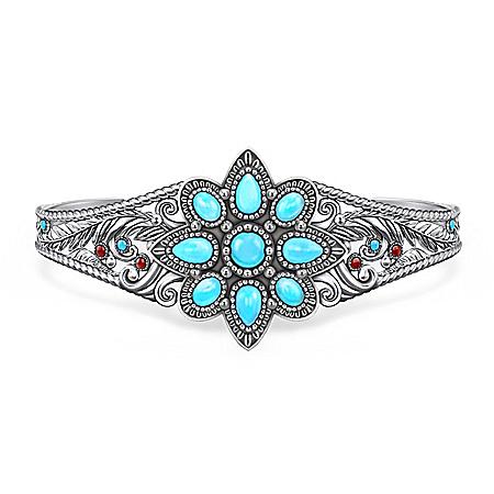Morning Star Women's Genuine Turquoise Cabochon Bracelet