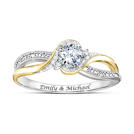 Love Letters Women's Personalized Diamonesk Ring With 18K Gold-Plating – Personalized Jewelry