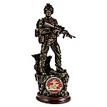 Courage Cold-Cast Bronze Marine Sculpture With 24K Gold-Plated USMC Challenge Coin