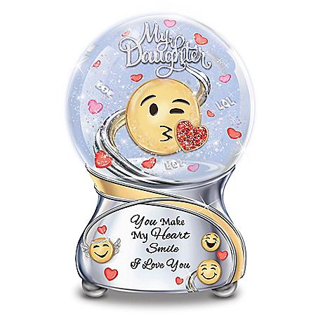 Daughter, You Make My Heart Smile Musical Emoji Glitter Globe