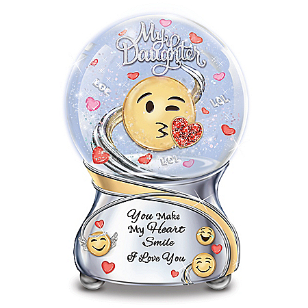 Daughter, You Make My Heart Smile Musical Emoji Glitter Globe