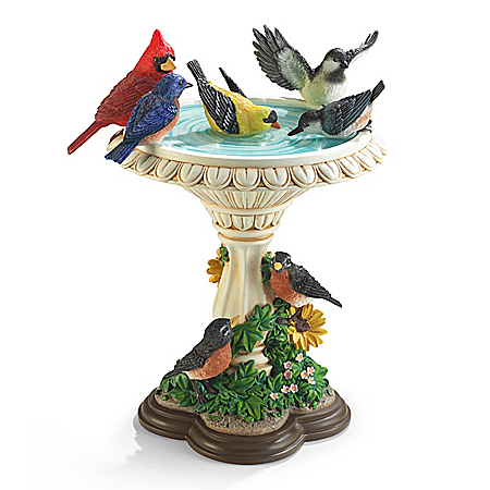 Bath Time In The Garden Hand-Painted Songbird Sculpture