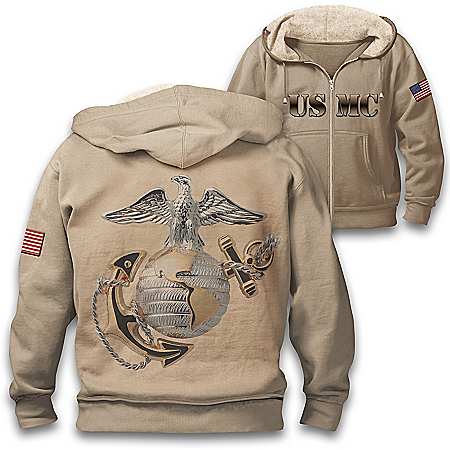 Military Pride USMC Hoodie With Sherpa-Lined Hood