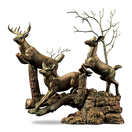 Family In The Forest Cold-Cast Bronze Deer Sculpture