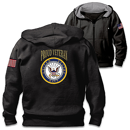 Veterans Pride Navy Men's Cotton-Blend Knit Hoodie