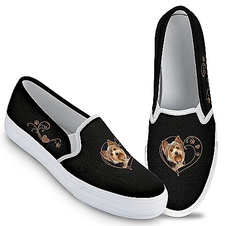 Paw Prints On My Heart Women's Dog-Themed Canvas Slip-On Shoes