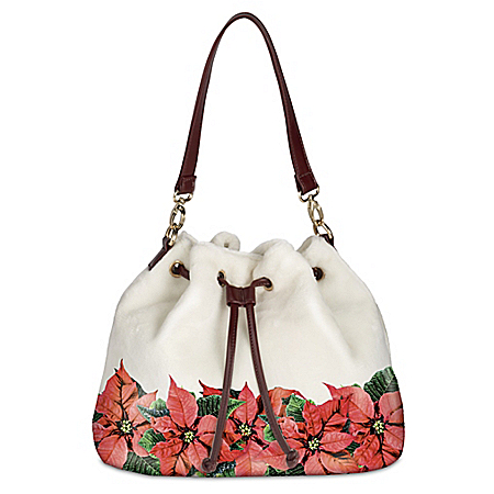 Poinsettia Splendor Womenâs Fleece Handbag