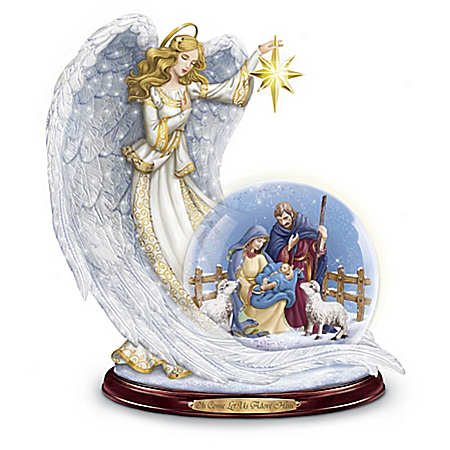 Thomas Kinkade Guiding Light Illuminated Nativity Snowglobe
