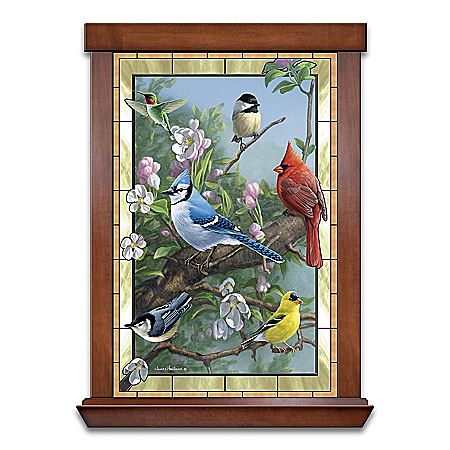 James Hautman Window To Nature Songbird-Themed Self-Illuminating Stained Glass Wall Decor