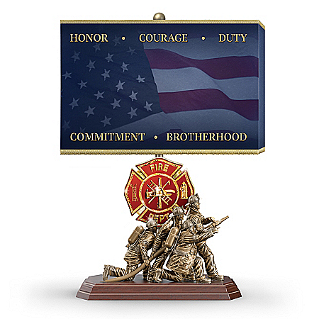 Light Of Courage Firefighter Tribute Cold-Cast Bronze Sculpted Lamp
