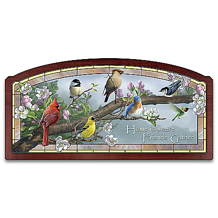 Glorious Gathering Stained Glass Songbird Illuminated Wall Decor