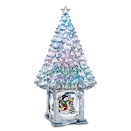 Thomas Kinkade Illuminated Musical Christmas Tree Snowglobe