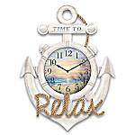 Lena Liu Beach Time Anchor-Shaped Wall Clock