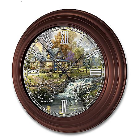 Thomas Kinkade Timeless Moments Outdoor Illuminated Atomic Wall Clock