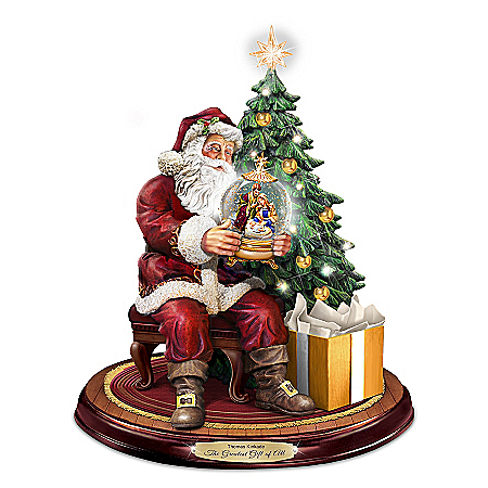 Santa Sculpture With Lights And Thomas Kinkade Narration